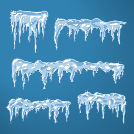 Ice sheets with icicles and snowflakes vector illustration Stock Vector - 25252141