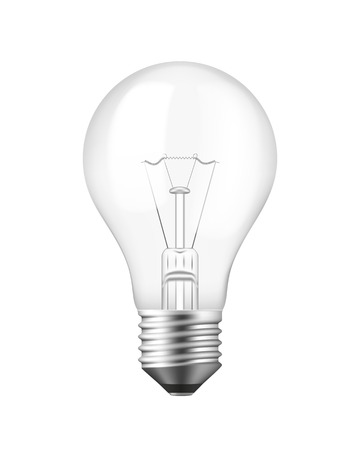 Vector Isolated Realistic Light bulb over white Stock Vector - 25252142