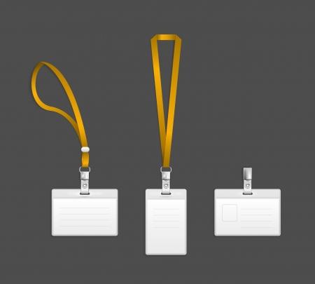 lanyard: Cuerda de seguridad, nombre de la etiqueta insignia finalizar titular ilustraci�n vectorial plantillas