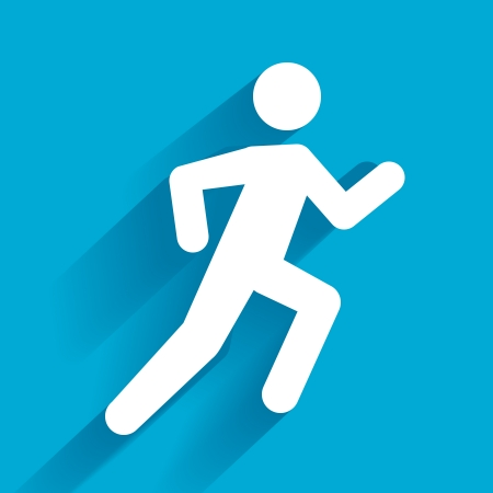 Vector Running Illustration, white man on blue Stock Vector - 25253589