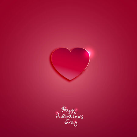 Creative pink paper heart for Valentines day card  vector  Stock Vector - 25503592