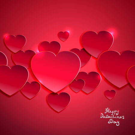 Valentine`s day vector illustration with red hearts Stock Vector - 25503616