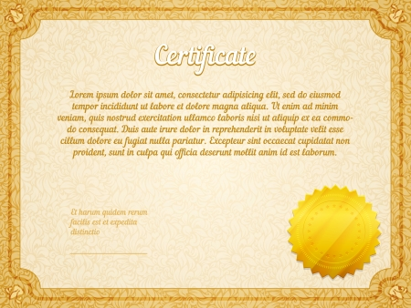 retro frame certificate with golden seal template vector Stock Vector - 25503626