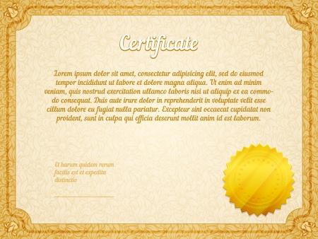 retro frame certificate with golden seal template vector Stock Vector - 25503626