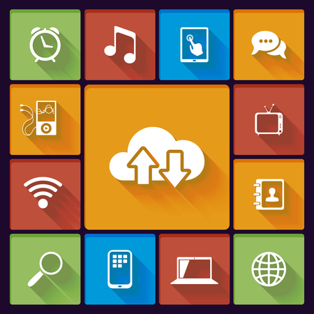 cloud social media icons: music TV chat contacts event Stock Vector - 25503632