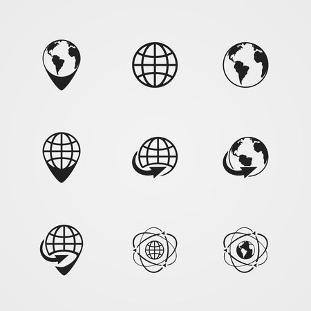 black globe earth icons set isolated vector illustration Stock Vector - 25996703