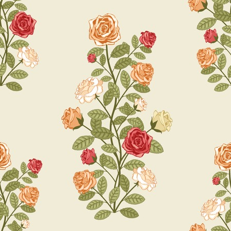 vector seamless pattern with roses in vintage victorian style Illustration