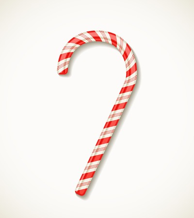 vector candy cane with red stripes isolated on white realistic vector Stock Vector - 25999680