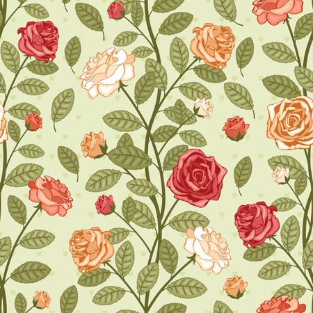 Seamless vector vintage pattern wallpaper with roses  Victorian bouquet of colorful flowers on green background Stock Vector - 25999684