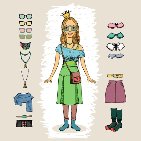 hipster woman with crown and glasses character set Stock Vector - 25999686