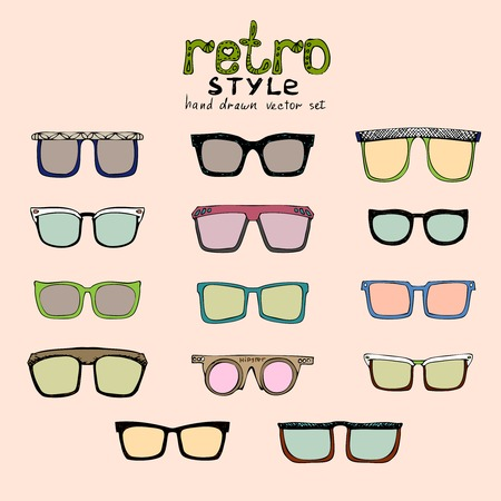 vector hipster retro glasses of different colors Stock Vector - 25999687