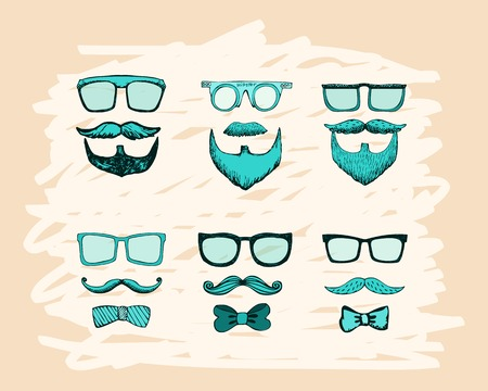 beards, mustaches, glasses and bows print vector illustration Stock Vector - 25999689