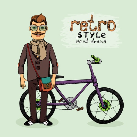 young man: hipster young man with bike vector illustration sketch