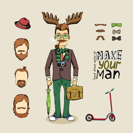 hand drawn hipster man character set vector illustration Vector