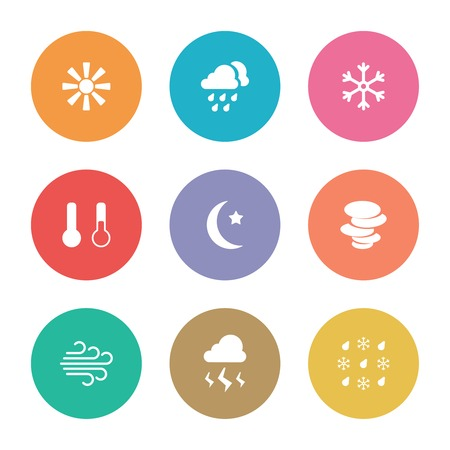 vector flat design style weather icons on colored circles Stock Vector - 25999695