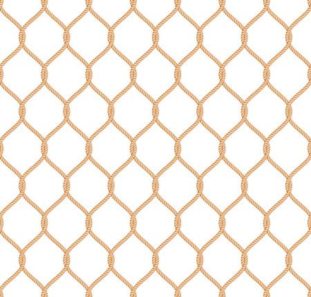 redes de pesca: Patr�n de red de cuerda marina de vectores sin fisuras en el fondo blanco Vectores