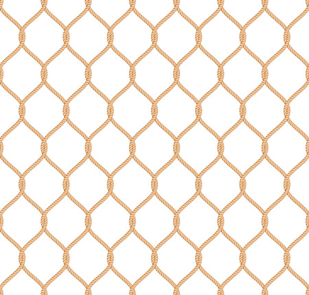 Ropes: Rope marine net pattern seamless vector on white background