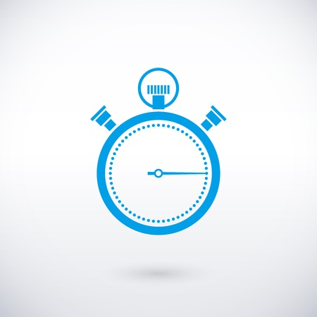 chronometer: vector blue stopwatch icon over white background