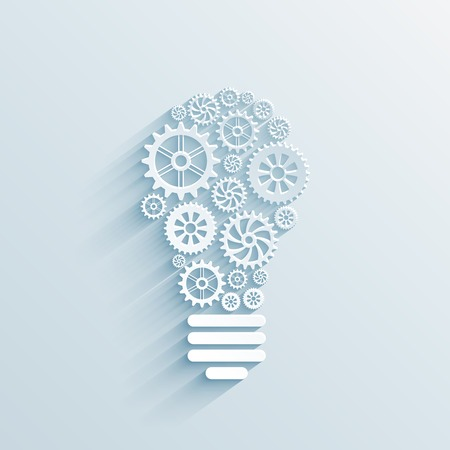 vector paper light bulb with gears and cogs, business interaction concept Vector