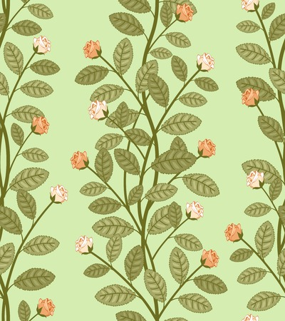 Seamless abstract floral pattern, vector roses on green background Stock Vector - 26202819