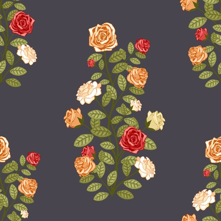 Wallpaper with roses traditional retro seamless vector pattern Stock Vector - 26202820