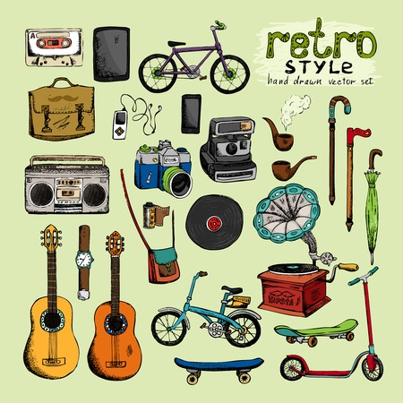 subculture: hipster retro style objects: camera umbrella bicycle clock pipe Illustration