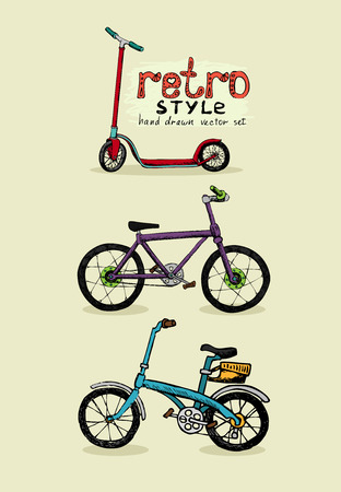 old school bike: hipster style bike and scooter hand drawn vector illustration