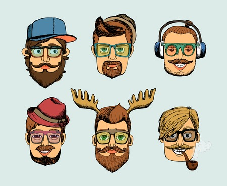 cartoon hairdresser: hipster man heads avatars with mustache beard glasses pipe and horns