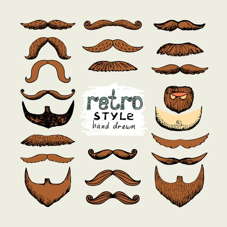 vector sketch mustaches and beards in retro style Vector