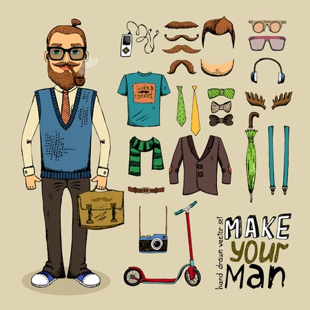 suspenders: retro style man with hipster elements and clothes set