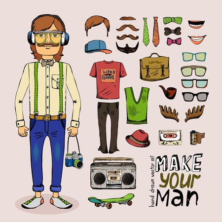 sketch male hipster set with pipe hat glasses tape and briefcase in retro style Vector
