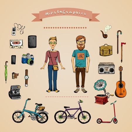 Hipster infographic concept with man, girl and accessories isolated on background Vector