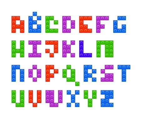 4 colors plastic constructor alphabet vector illustration
