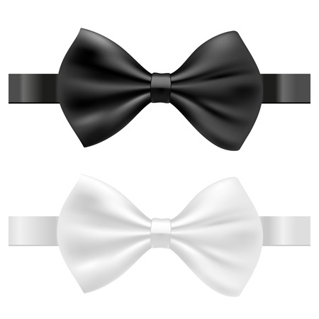 formal shirt: black and white bow tie vector illustration isolated