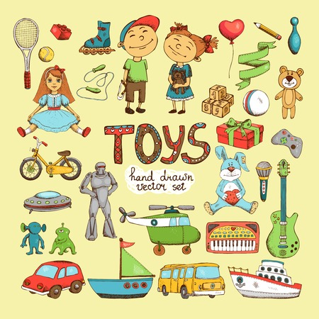 vector set of different cartoon toys, doll soldiers teddy bear aliens hare helicopter and bike Illustration