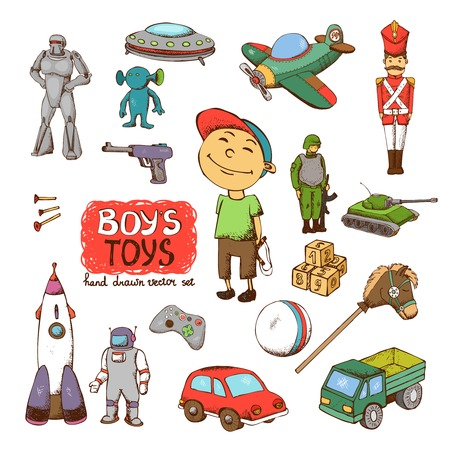 vector toys for boy: rocket gun drum UFO soldier robot tank Vector