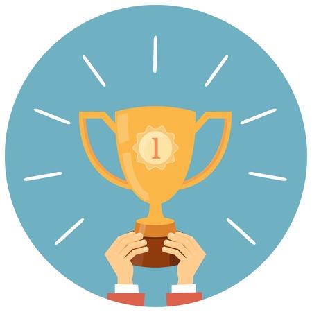 contest winner: Trophy, hands holding winner cup Illustration