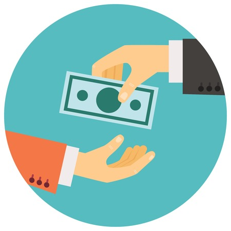 wages: vector illustration in retro style, hand giving money to other hand