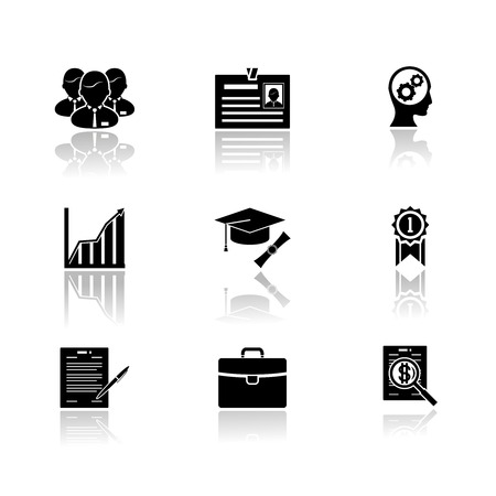 Business career icons with reflection vector illustration Vector