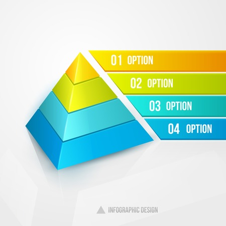 illustration isolated: pyramid infographic design template vector illustration isolated on white