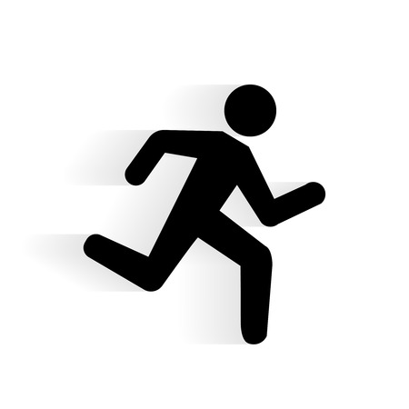 pedestrians: Vector Running Human Icon silhouette with shadow isolated on white