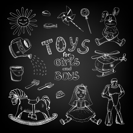 hand drawn chalkboard toys for girls and boys kids Vector