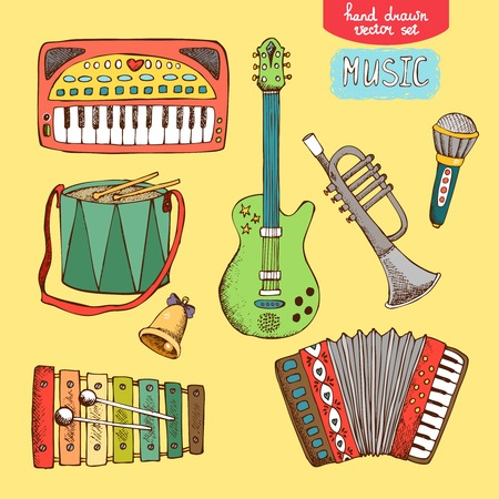 music education: vector illustration hand drawn musical instrument: guitar trumpet accordion drum synthesizer