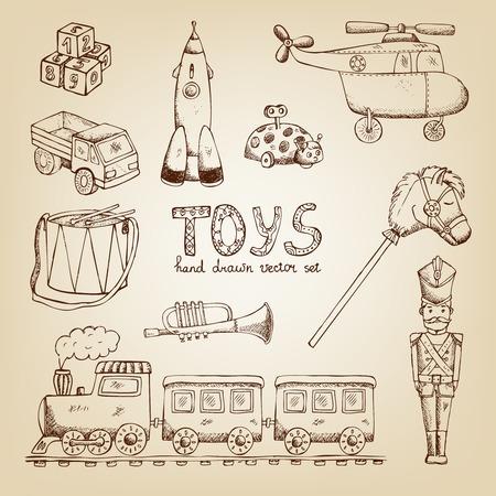 toy soldier: vintage hand drawn toys set: train drum soldier trumpet Illustration