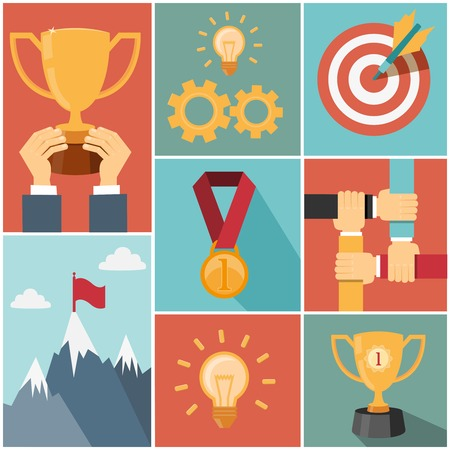 achievement concept: business achieving goal, success concept vector illustrations Illustration