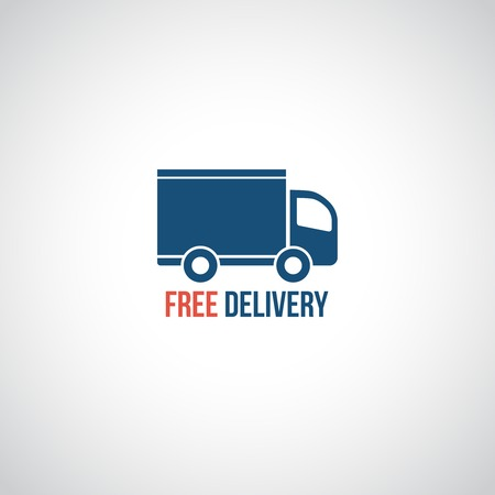 delivery van: Free delivery icon, vector symbol car carrying cargo