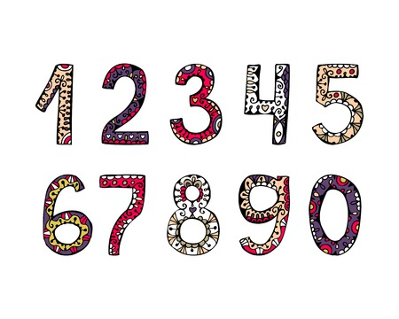 vector hand drawn ornamental numbers of decorative font for invitations and greeting cards Vector