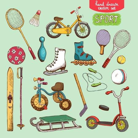 biking glove: sport toys set illustration: skating, skiing ball bike and tennis
