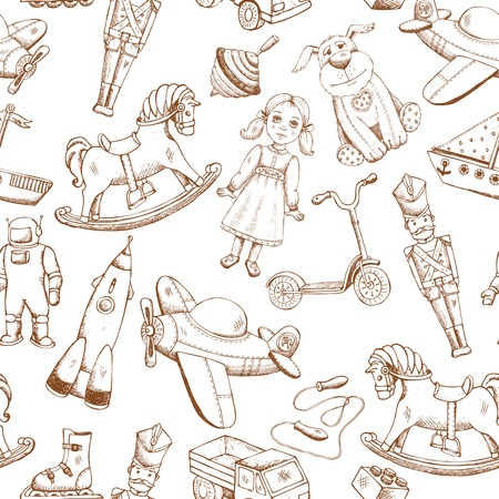 vintage hand drawn toys seamless pattern with doll airplane whirligig rocket Vector