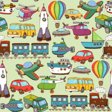 vector illustration cartoon transport seamless pattern background Ilustrace
